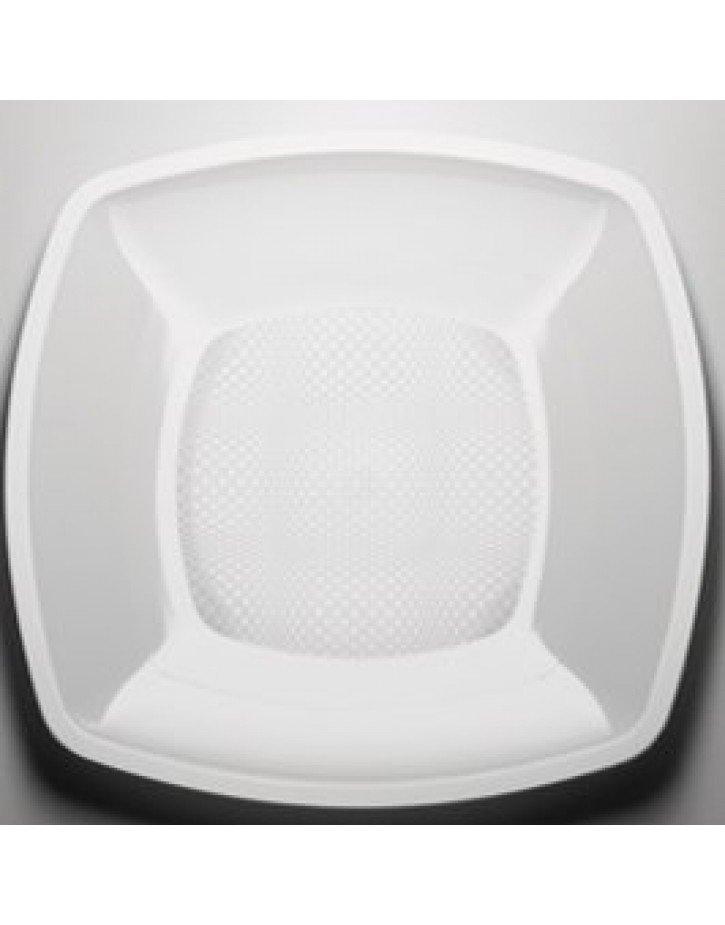 Platos cuadrados de plástico en cajas de 12 unidades blanco