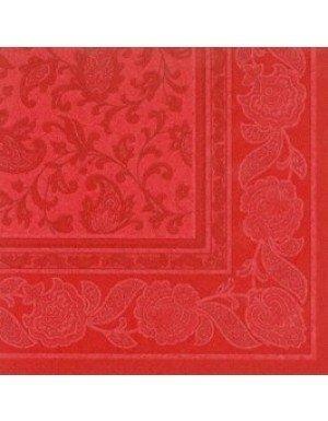 SERVILLETAS ORNAMENTS EFECTO TELA 20 x 20 cm ROJO  (20 Ud/Paq)