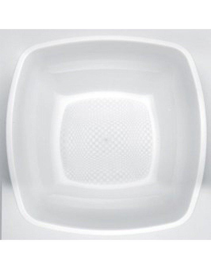 Platos de plástico cuadrados blanco