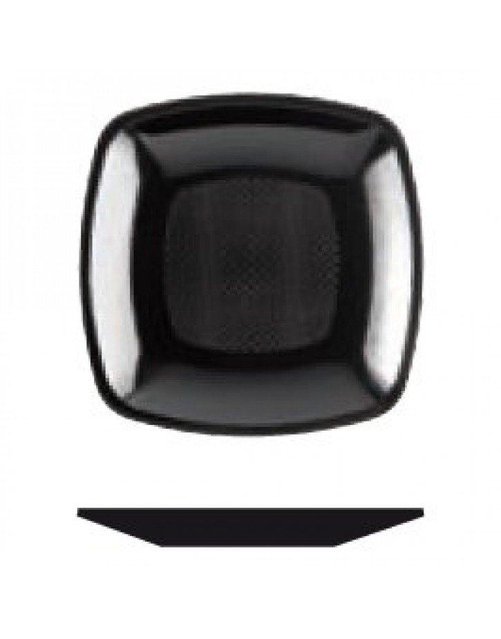 Platos de plástico cuadrados negro
