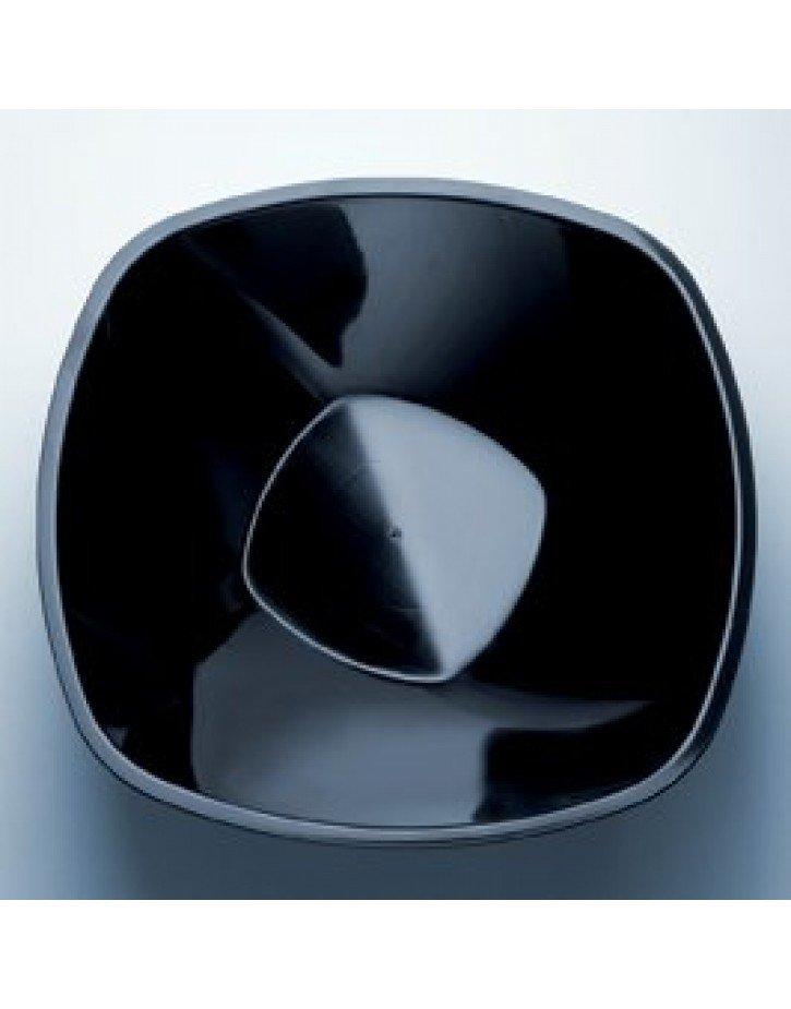 Platos cuadrados de plástico en cajas de 12 unidades negro
