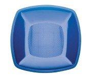 Plato de plástico grande de color azul, llano