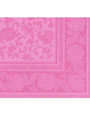SERVILLETAS ORNAMENTS EFECTO TELA 20 x 20 cm ROSA ( 20 Ud/Paq)