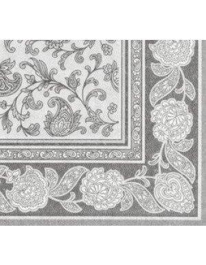 SERVILLETAS ORNAMENTS EFECTO TELA 20 x 20 cm GRIS OSCURO/BLANCO  (20 Ud/Paq)