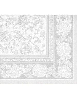 SERVILLETAS ORNAMENTS EFECTO TELA 20 x 20 cm GRIS CLARO/BLANCO  (20 Ud/Paq)